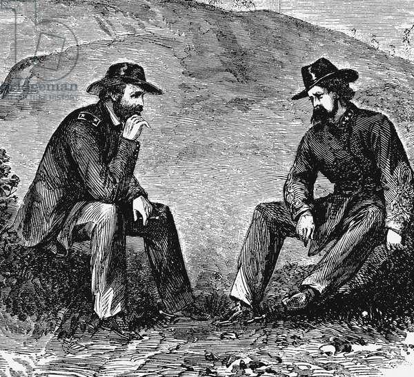 General US Grant (left) negotiating terms with General John Clifford Pemberton (1814-1881) Confederate (southern) commander for surrender of Vicksburg. American Civil War 1861-1865. Engraving.