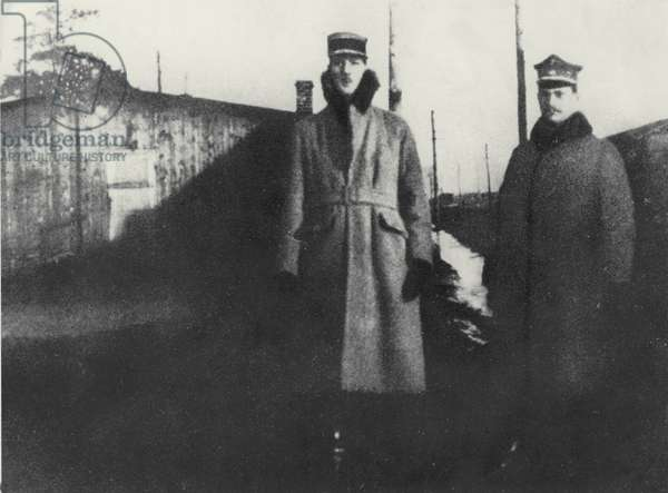 Captain de Gaulle and Lieutenant Medwecki, Rembertov, Poland, 1920 (b/w photo)