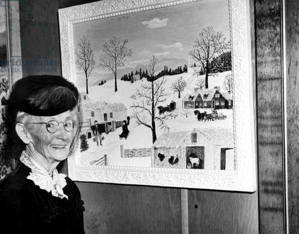 Anna Mary Robertson Moses (AKA Grandma Moses), nov 1945 (b/w photo)