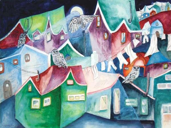Night Owls, 2015, (watercolor)