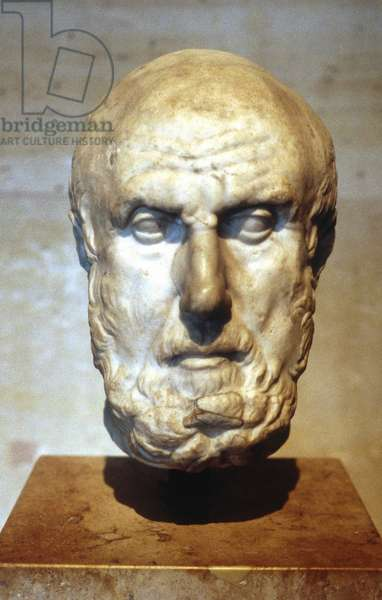 Hippocrates of Cos (c460-377 or 359 BC) Ancient Greek physician called the father of medicine.  Portrait bust. Louvre, Paris.