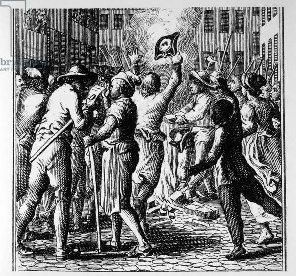 Mob of People Burning Stacks of Stamped Paper to Protest Stamp Act, Boston, Massachusetts, 1765