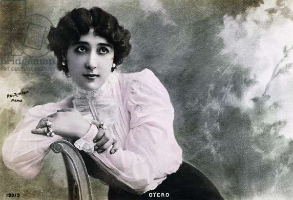Portrait of dancer and actress Carolina Otero, known as La Belle Otero (1868-1965), French postcard, 1910
