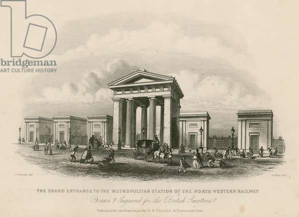 Grand entrance to the Metropolitan Station of the North Western Railway, London (engraving)