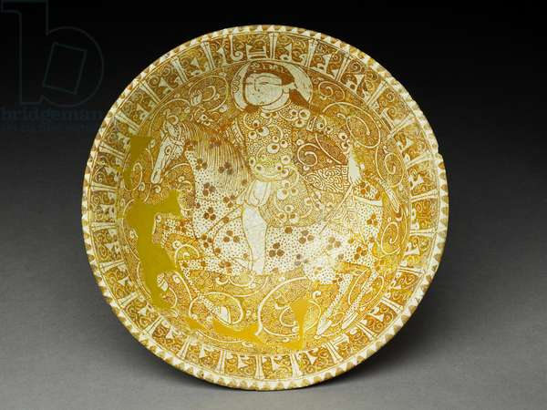 Bowl with Horseman and Pseudo-Kufic Insription (fritware with overglaze in lustre)