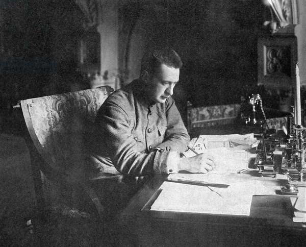 Chairman of the Provisional Government Council of Ministers Alexander Kerensky in his study, Petrograd, 21 August 1917 (b/w photo)