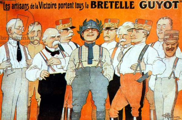 Advertisement for Guyot suspenders with allied heroes of 1st world war Woodrow Wilson, George V of England, Georges Clemenceau, Joseph Joffre, Philippe Petain, David Lloyd Georges, Ferdinand Foch
