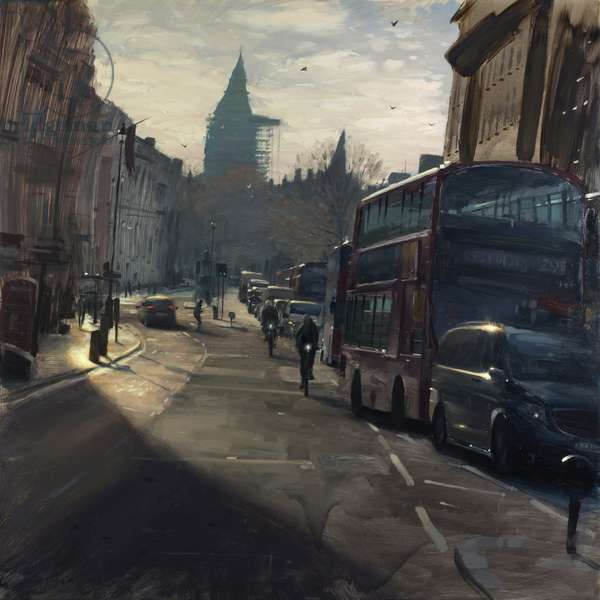 Sunstreak on Whitehall with bikes, December, 2018, oil on canvas