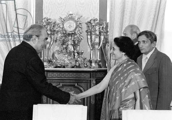 Indira Gandhi And Leonid Brezhnev In Moscow