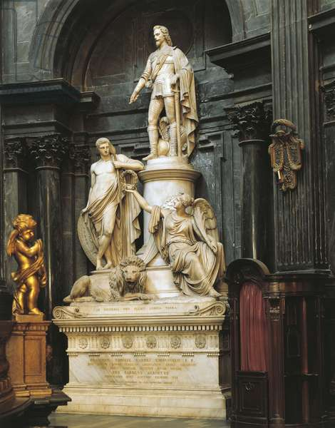 Statue of Vittorio Emanuele I, Chapel of Holy Shroud, Turin. Italy, 18th century.