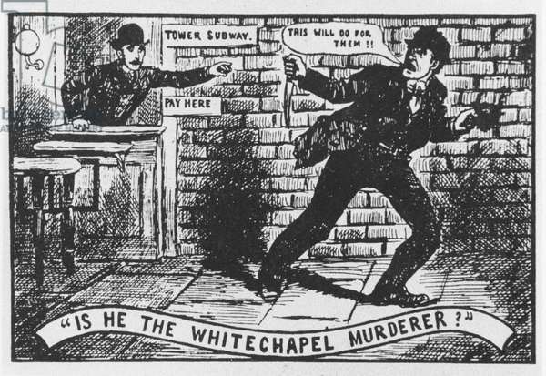 Jack the Ripper: engraving from the Police News of 22 September 1888, depicting an incident at the Tower Subway (litho)