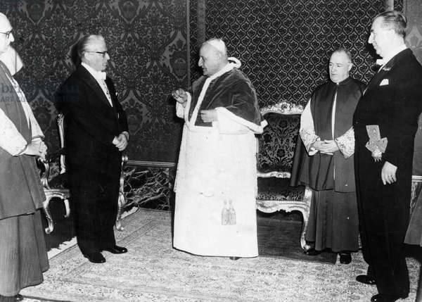 Rome May 7, 1959 Audience of Pope John XXIII at the Vatican with the President of the Italian Republic Giovanni Gronchi and the Minister Pella