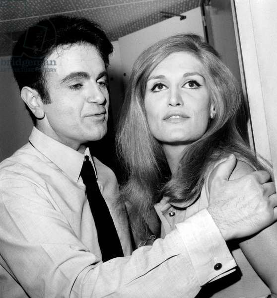 Singers Guy Beart and Dalida March 28, 1968 (b/w photo)