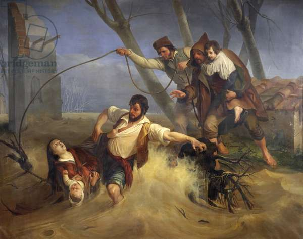 Family saved from flooding of Serchio in 1843, 1845, by Enrico Pollastrini (1817-1876), oil on canvas, 231x293 cm