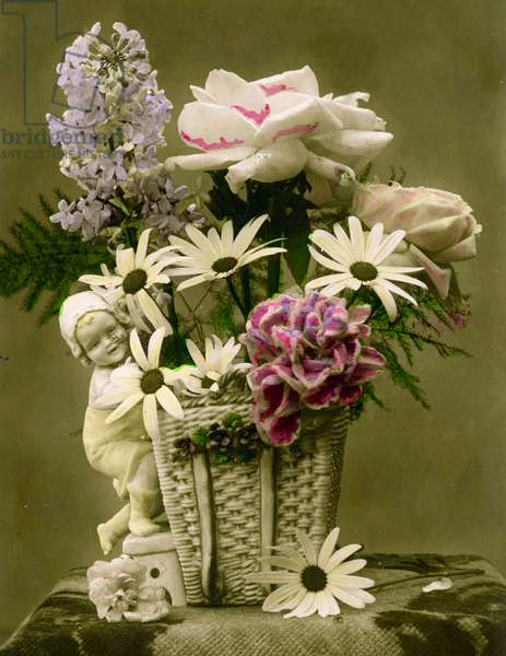 Basket of flowers  c.1898 (hand-tinted photo)