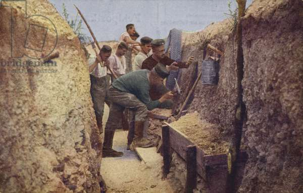German trench nearing completion, World War I, 1914-1916 (photo)