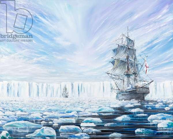James Clark Ross discovers Antarctic Ice Shelf Jan 1841, (2) 2016 (oil on canvas)