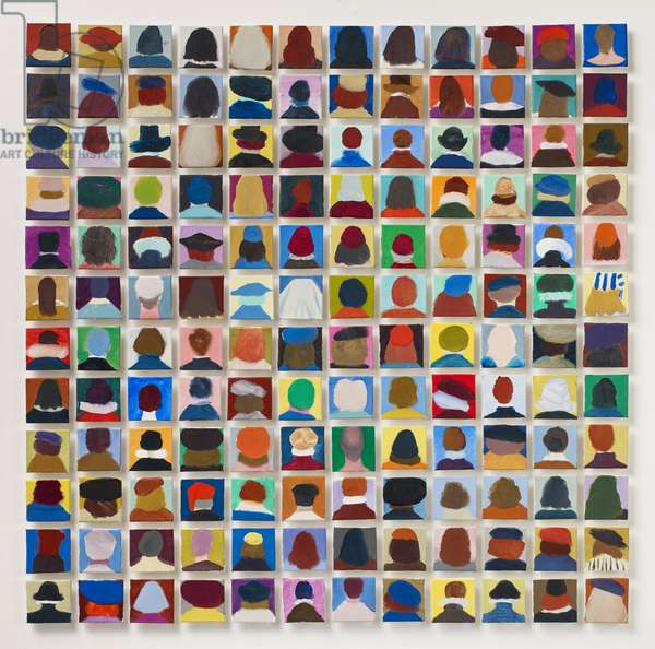 144 Old Masters Heads, 2016 (oil on canvas)