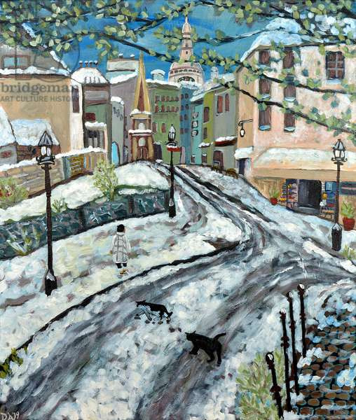 Early Snow Montmartre, 2020, acrylic on canvas