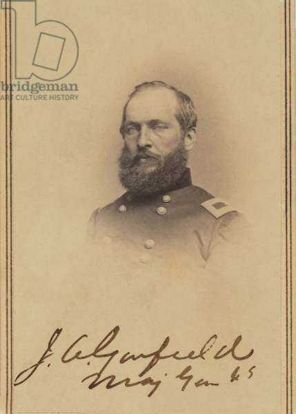 James A. Garfield (1831-81), 20th President of the United States, Head and Shoulders Portrait as Brigadier General during American Civil War, carte de visite photograph, 1865 (b/w photo)