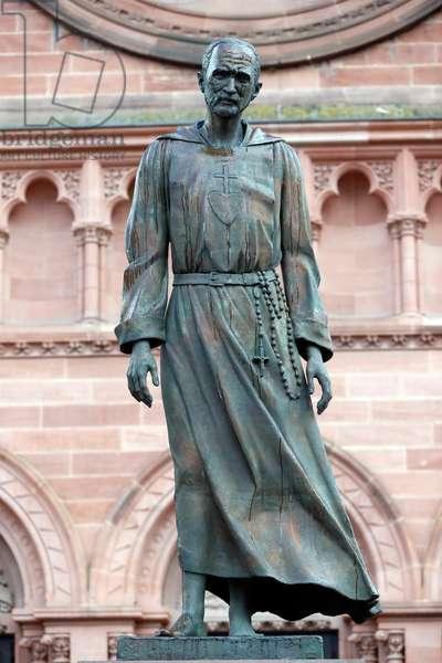 Saint-Pierre le Jeune Catholic Church, Charles de Foucauld statue, Strasbourg, France (photo)