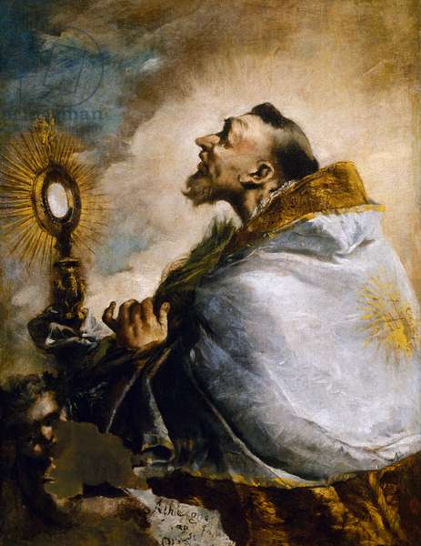 Saint in adoration of Holy Eucharist or Saint Norbert in ecstasy, 1740 (oil on canvas)
