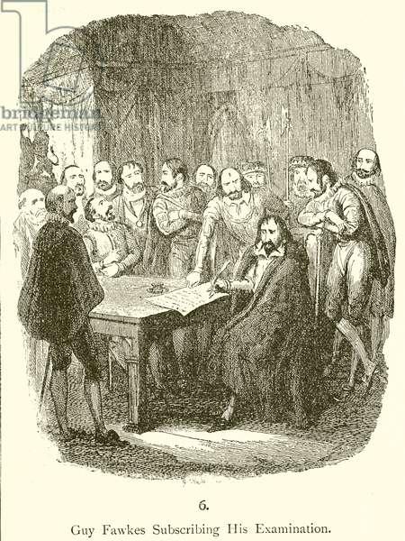 Guy Fawkes subscribing his examination (engraving)