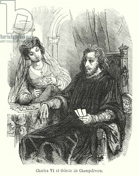 Charles VI et Odette de Champdivers (engraving)