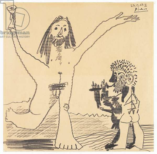 Two naked male characters appearing to glorify life, wine and music, 1967 (pencil & pencil rubbing on paper)