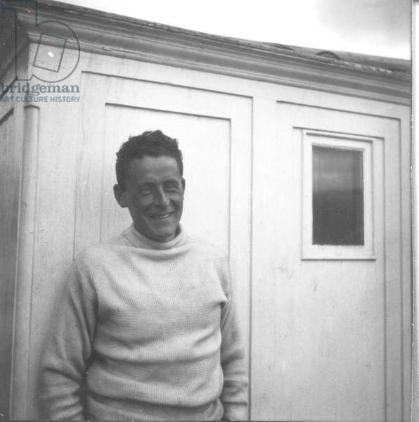 Paul-Emile Victor on the Why-Pas? en route to Greenland, Greenland, Summer 1934 (b/w photo)