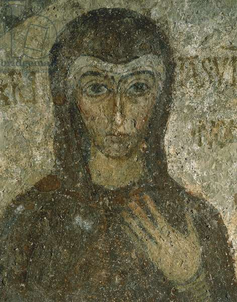 Fifth-century fresco depicting deceased Hilaritas with veil on her head, Catacombs of San Gennaro, Naples, Campania, Italy, 4th century
