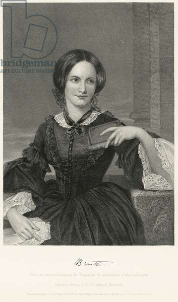 Charlotte Bronte (1816-55), English Novelist and Poet, Half-Length Seated Portrait, Steel Engraving, Portrait Gallery of Eminent Men and Women of Europe and America by Evert A. Duyckinck, Published by Henry J. Johnson, Johnson, Wilson & Company, New York, 1873 (print)