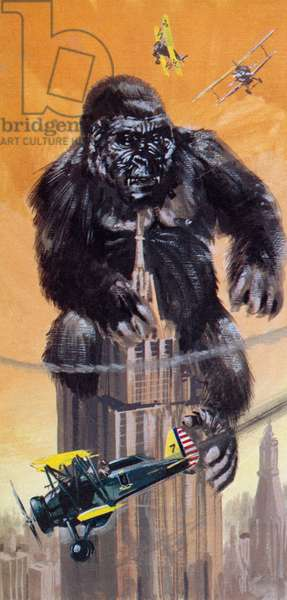 King Kong, in which the part of the gigantic ape that terrorised New York was played by a small doll (colour litho)