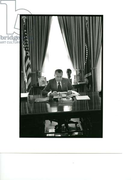 President Nixon at his desk in the Oval Office, 10th February, 1971 (b/w photo)