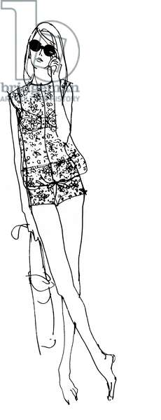 Fashion drawing, 1965 (pen and ink on paper)