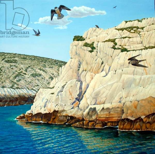 Eleonora's falcons, Amorgos (oil on canvas)