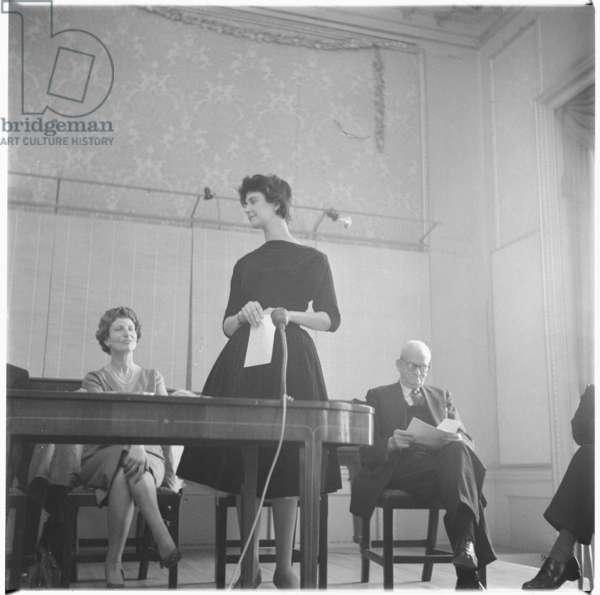 Shelagh Delaney receiving prize, c.1959 (b/w photo)