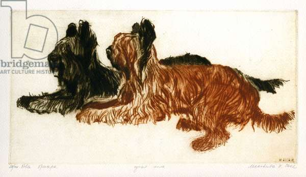Two Dogs, 2002 (drypoint)