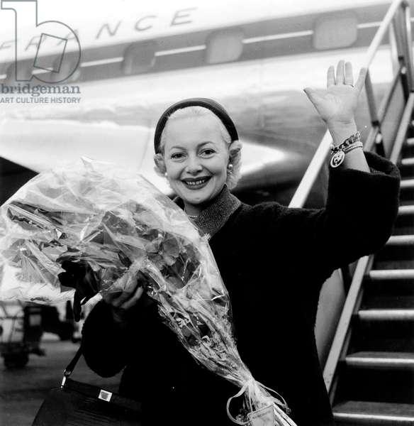 Olivia De Havilland Arriving in Paris Airport December 24, 1954 (b/w photo)