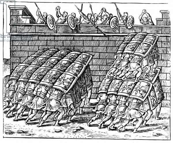Roman soldiers forming a Tortoise with their shields and approaching the walls of a besieged fortress. Engraving from Justus Lipsius Poliorceticon Antwerp 1605.