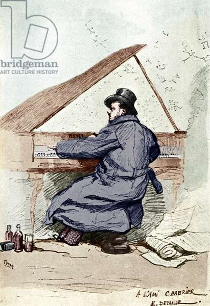CHABRIER, Emmanuel   at the piano. French composer, (1841-1894)