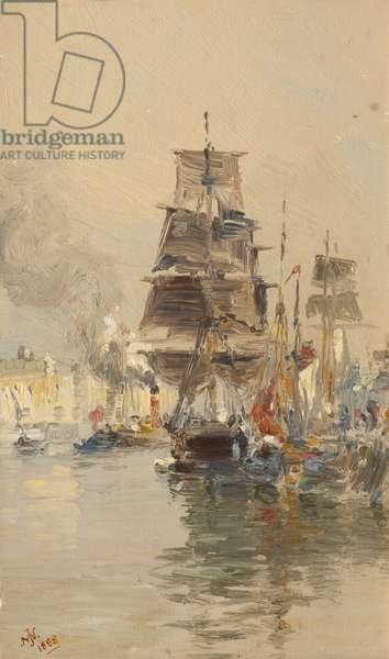 Douglas harbour, 1898 (oil on canvas)