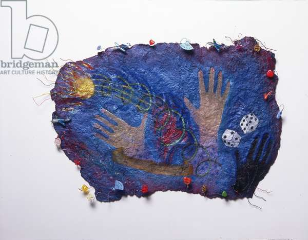 Ball of Fire, 1985 (paint, pastel, wire, plastic, metal, glitter & sequins on papier-mâché, on gauze)