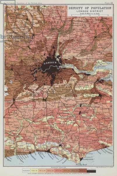 Density of population, London District (colour litho)