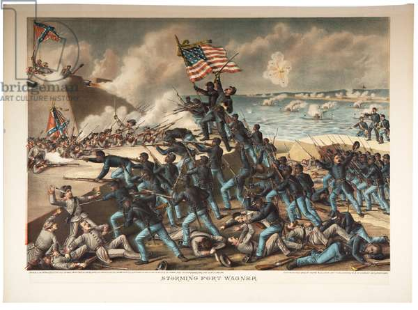 Storming Fort Wagner, 1890 (colour litho)