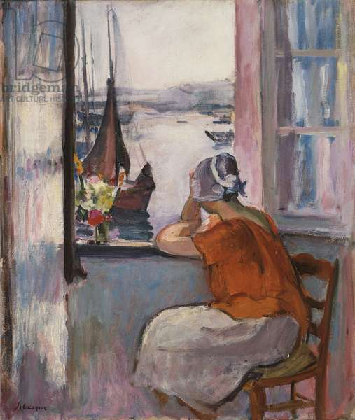 Young Girl at the Window Opposite the Island of Yeu,  (oil on canvas)