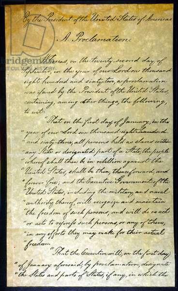 EMANCIPATION PROC., P. 1 Abraham Lincoln's holograph manuscript, 1863.