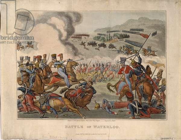 Battle of Waterloo, 1816 (colour aquatint)