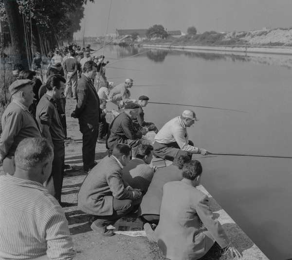 Fishing contest, Ourcq canal in Bobigny, near Paris, September 11, 1960 (b/w photo)
