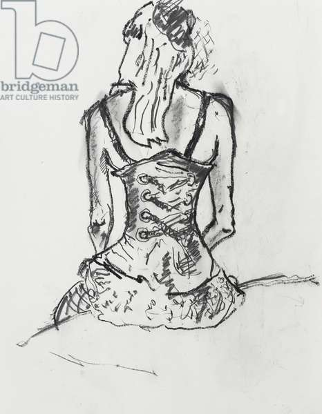 burlesque Model with Corset, 2014, (pencil on paper)